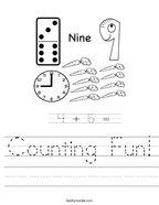 Counting Fun Handwriting Sheet