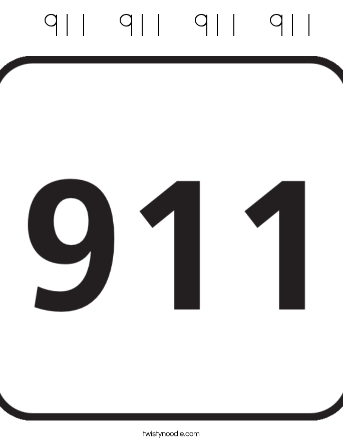 911   911   911   911  Coloring Page