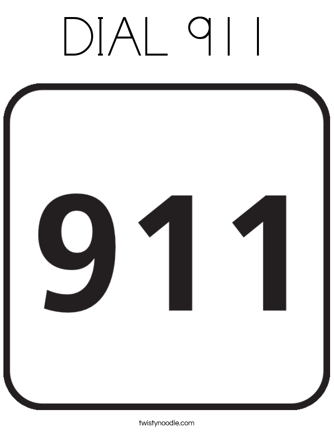 DIAL 911 Coloring Page