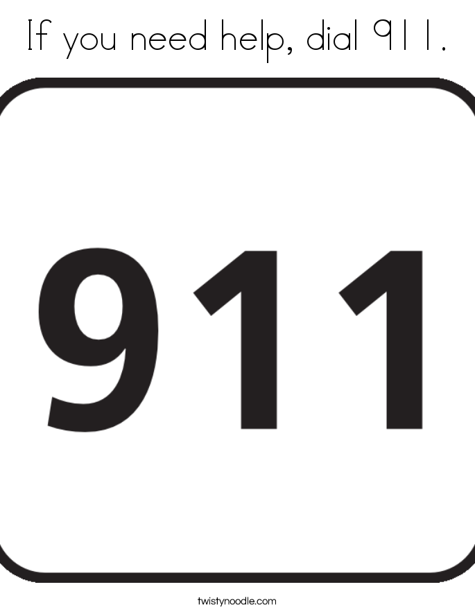 If you need help, dial 911. Coloring Page