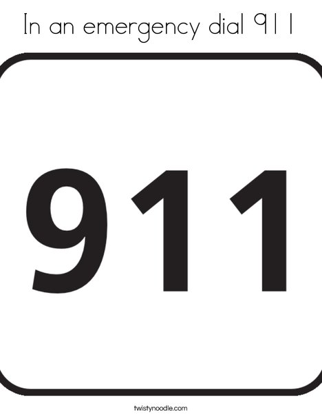 In An Emergency Dial 911 Coloring Page