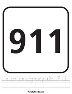 In an emergency dial 911 Handwriting Sheet