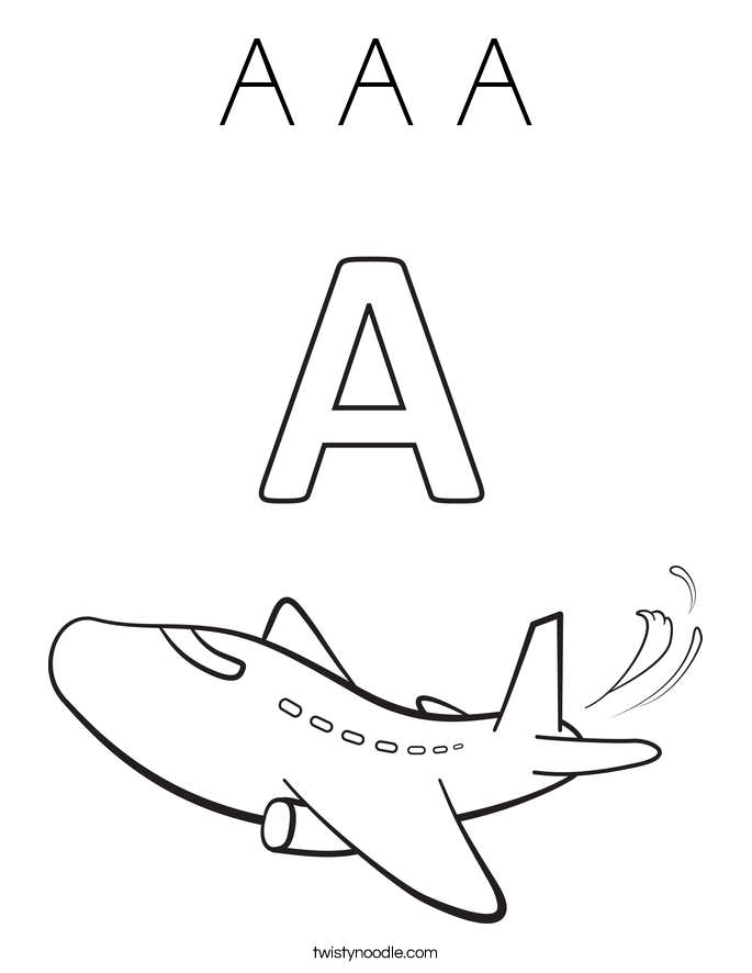 Letter A Coloring Pages Page