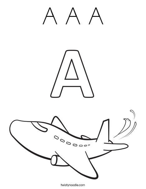 A Airplane Coloring Page