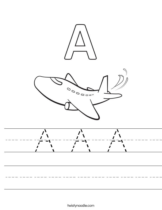 Worksheets Letter A Worksheets letter a worksheets twisty noodle handwriting sheet