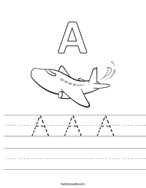 A Airplane Worksheet