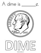 A dime is ______¢ Coloring Page