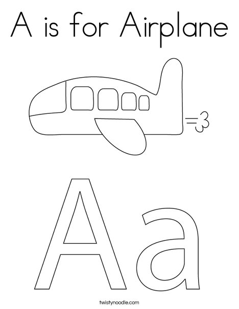 A is for Airplane Coloring Page
