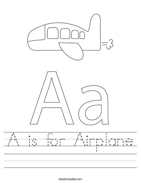 a is for airplane worksheet twisty noodle. Black Bedroom Furniture Sets. Home Design Ideas