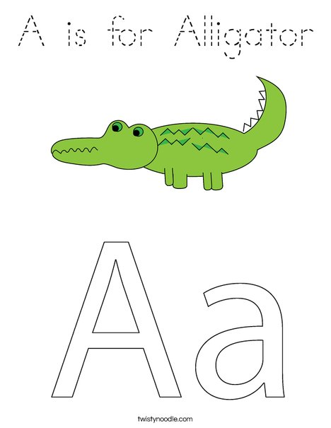 A is for alligator coloring pages ~ A is for Alligator Coloring Page - Tracing - Twisty Noodle