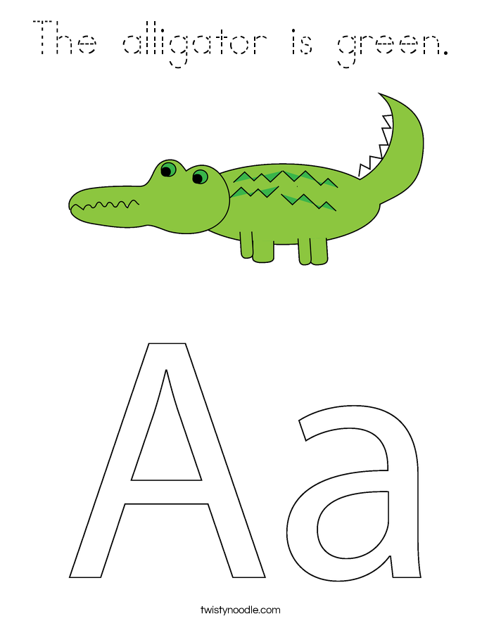 The alligator is green. Coloring Page