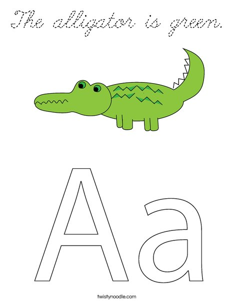 A is for Alligator Coloring Page