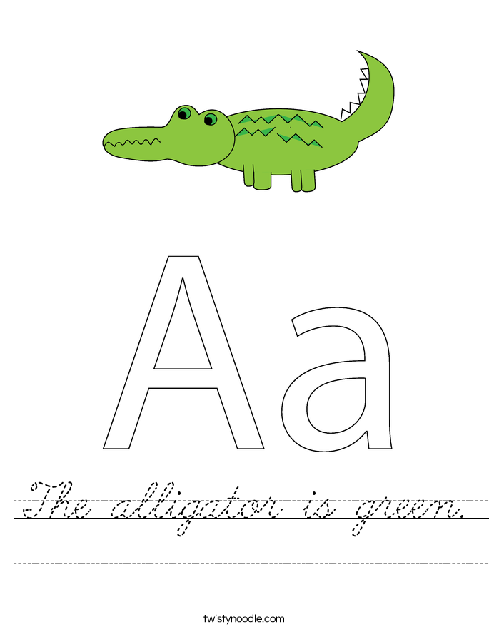 The alligator is green. Worksheet