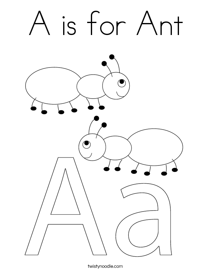 a is for ant coloring page - Insect Coloring Pages