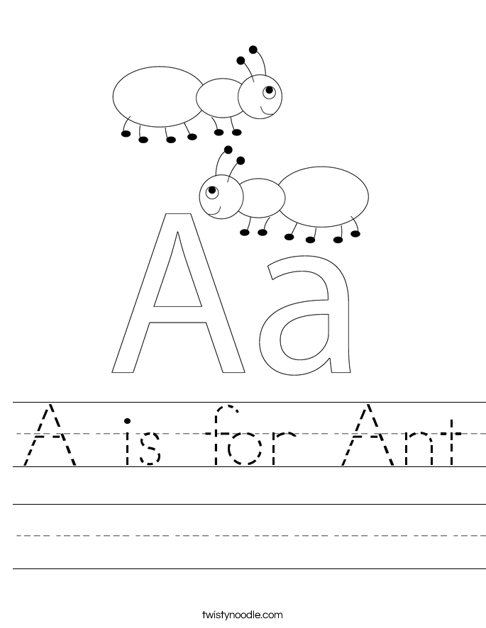 is for Ant Worksheet - Twisty Noodle