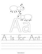 A is for Ant Handwriting Sheet