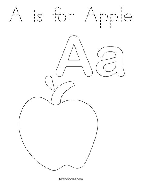 A is for Apple Coloring Page