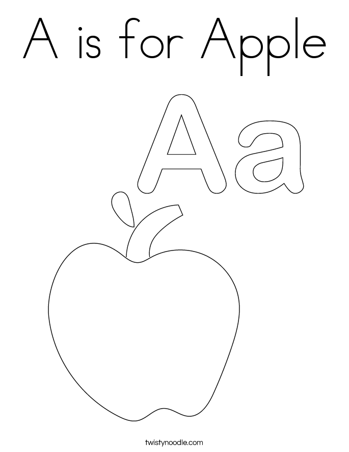 A is for apple coloring page twisty noodle Apple iPad Coloring Pages Printable Apple Coloring Page Apple Basket Coloring Page