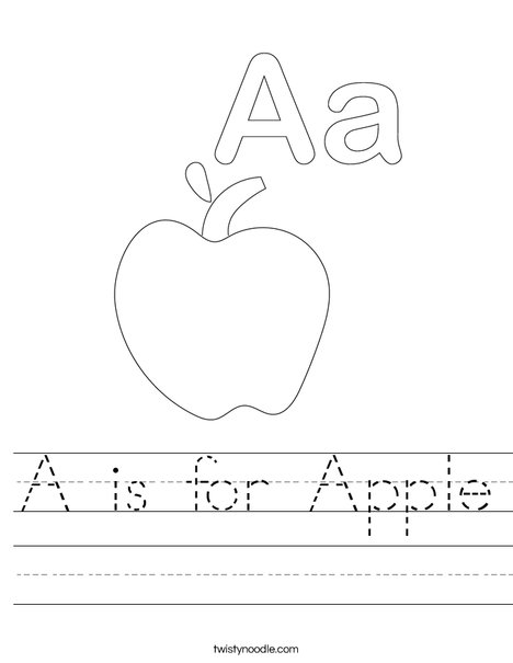 A is for Apple Worksheet - Twisty Noodle