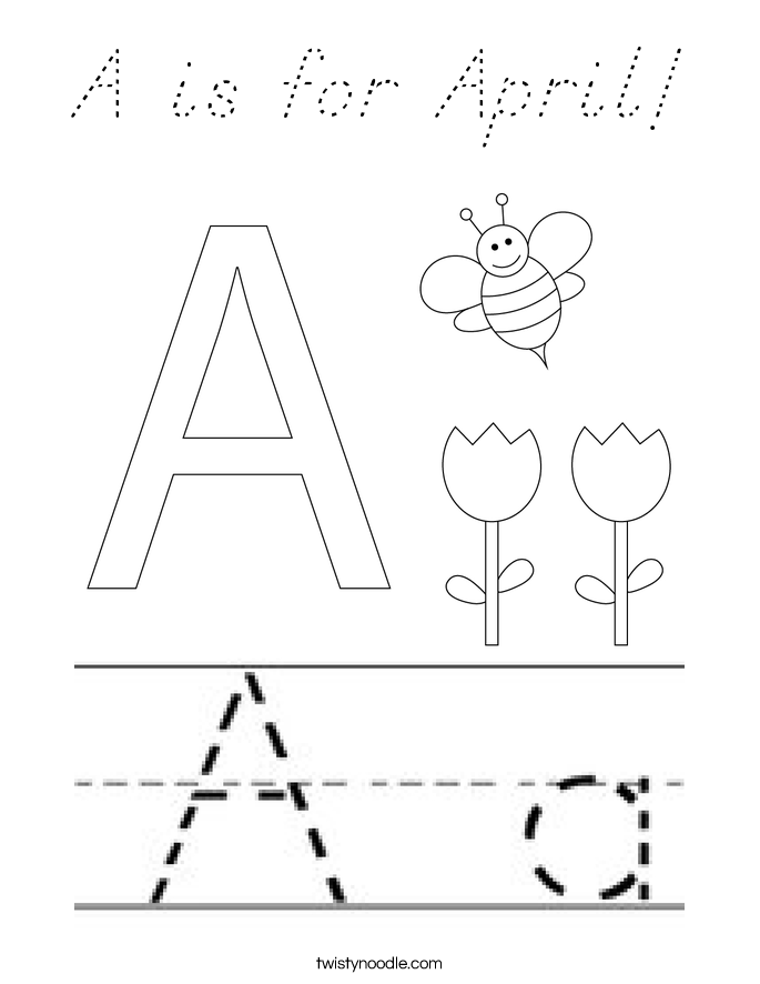 A is for April! Coloring Page