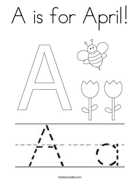 A is for April Coloring Page