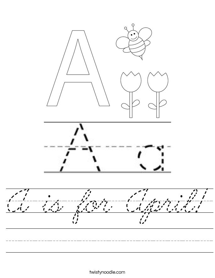 A is for April! Worksheet