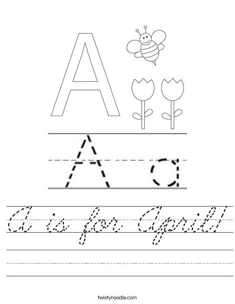 A is for April Worksheet