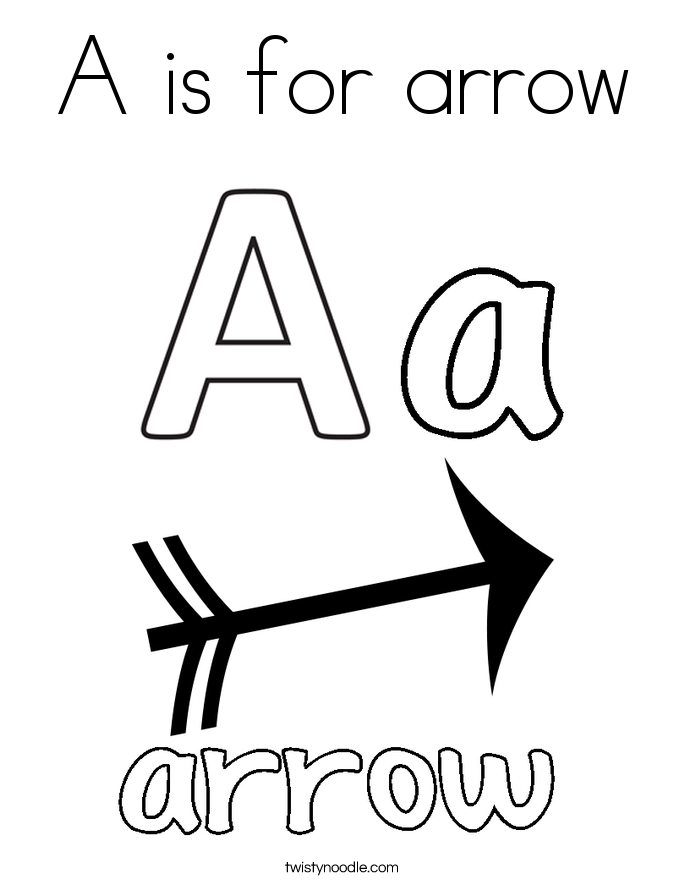 a is for arrow coloring page - A Coloring Pages