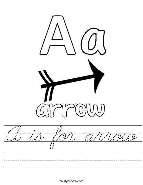 a is for arrow worksheet cursive twisty noodle. Black Bedroom Furniture Sets. Home Design Ideas