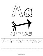 A is for arrow Handwriting Sheet