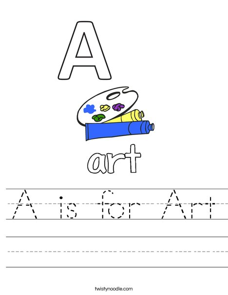 A is for Art Worksheet