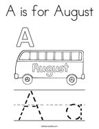 A is for August Coloring Page