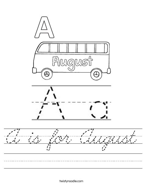 A is for August Worksheet