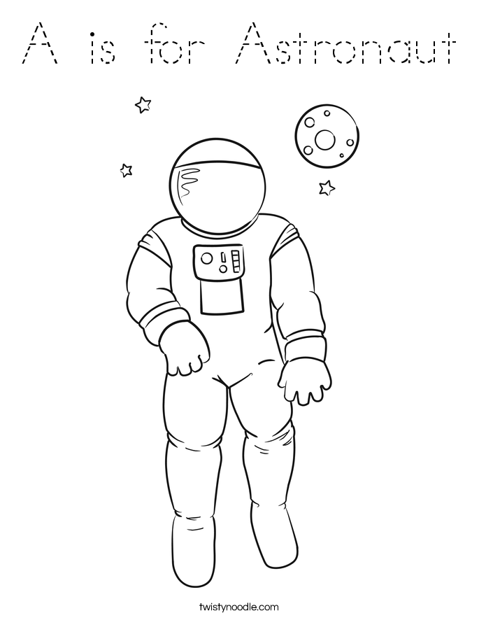 A is for Astronaut Coloring Page