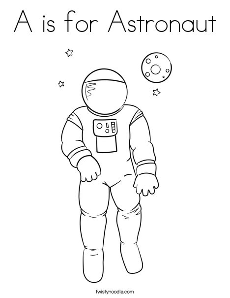 A is for Austronaut Coloring Page