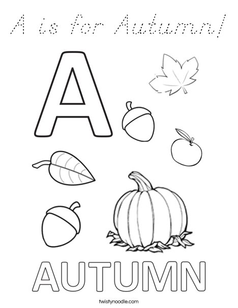 A is for Autumn Coloring Page