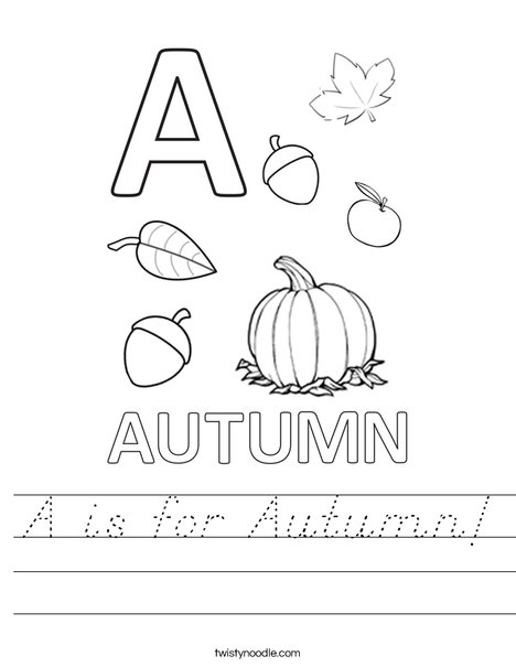 A is for Autumn Worksheet