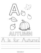 A is for Autumn Handwriting Sheet