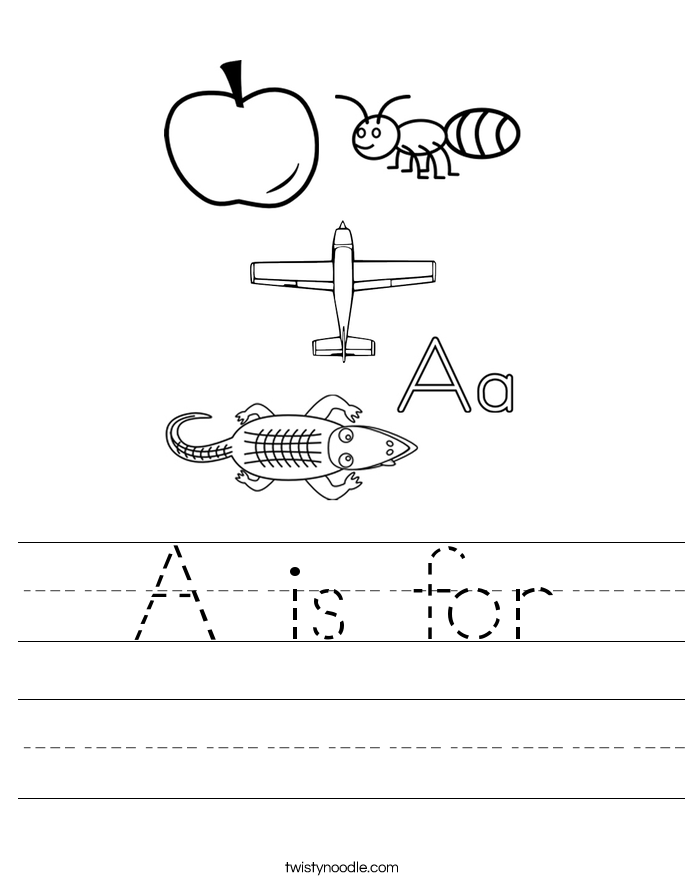 Letter A Worksheets - Twisty Noodle