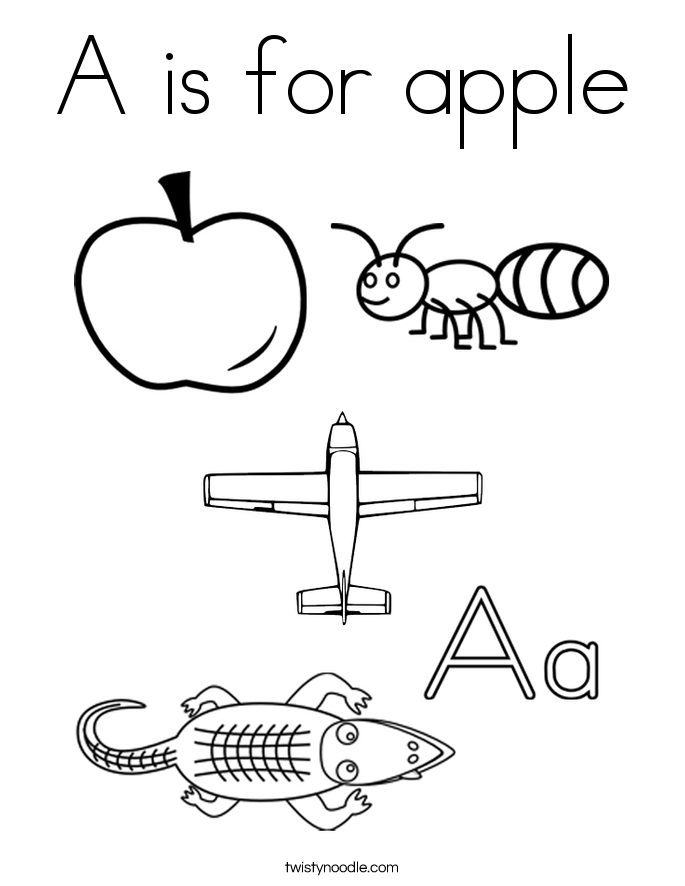 A Is For Apple Coloring Page Twisty Noodle A Is For Apple Coloring Page