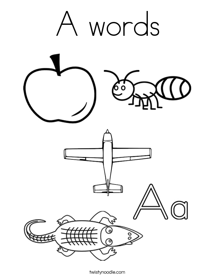 A words Coloring Page
