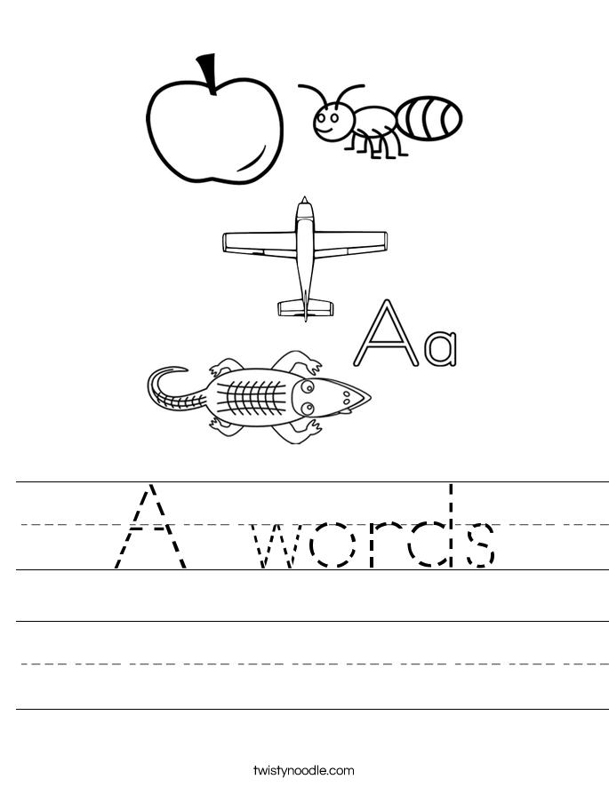A words Worksheet - Twisty Noodle