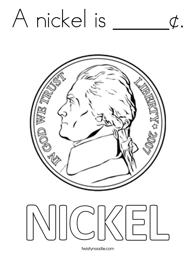 A nickel is _____¢. Coloring Page