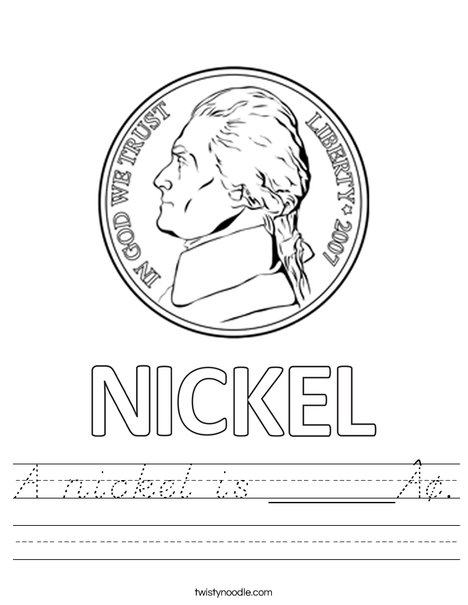 A nickel is ____¢. Worksheet