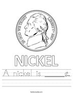 A nickel is _____¢ Handwriting Sheet