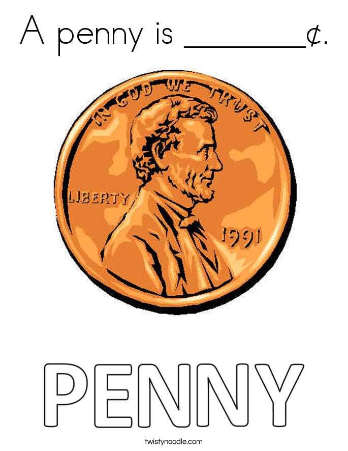 A penny is _______¢. Coloring Page