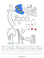 A Walk Around the Zoo Handwriting Sheet
