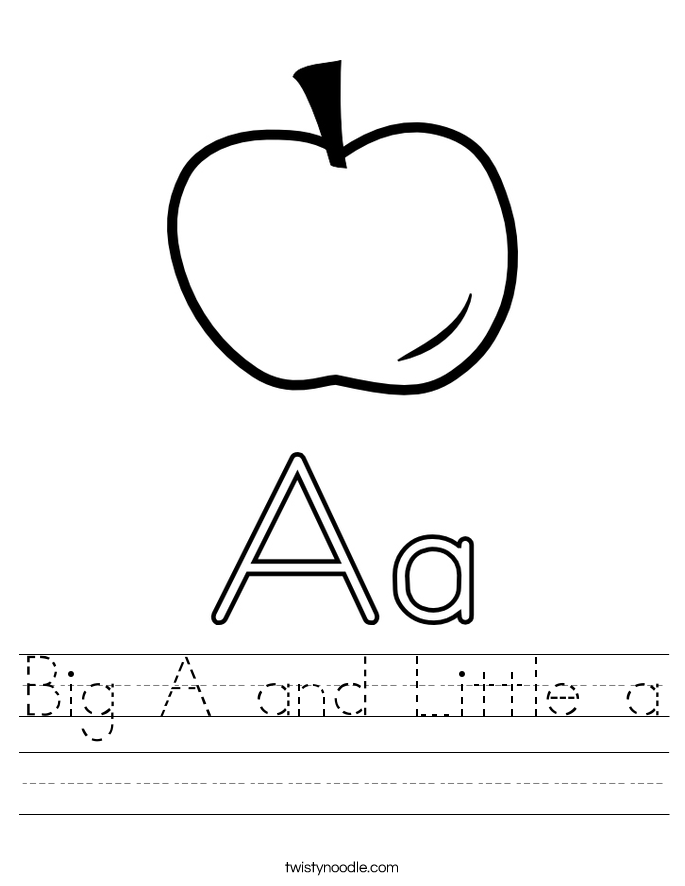 Big A and Little a Worksheet - Twisty Noodle