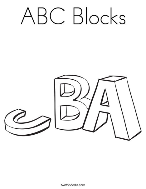 Abc Blocks Coloring Page Twisty Noodle