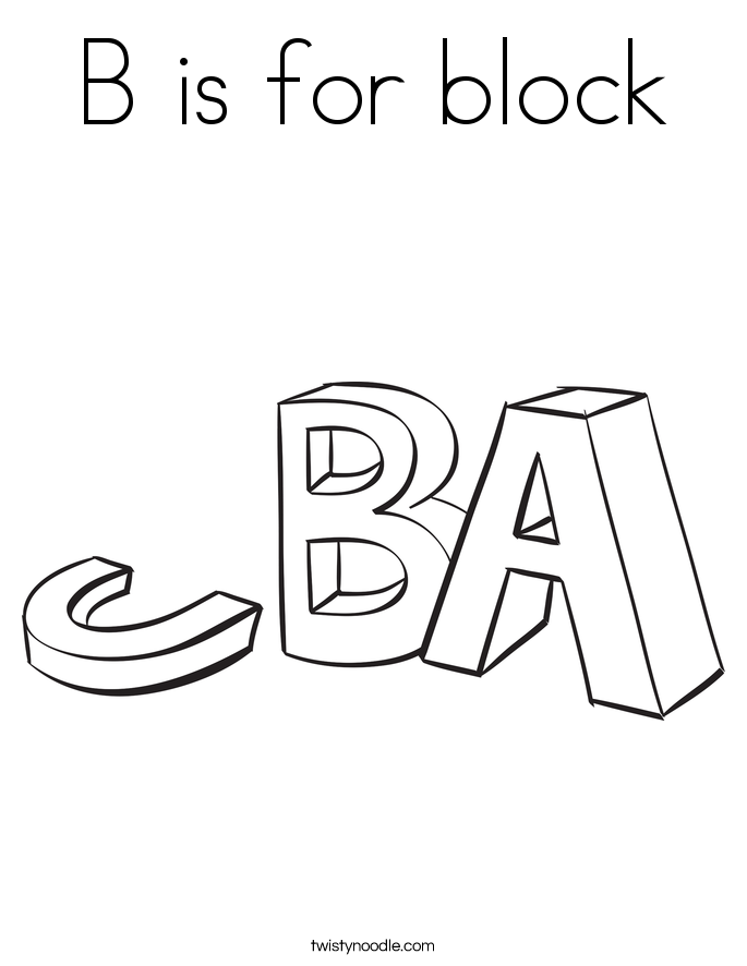 B is for block Coloring Page